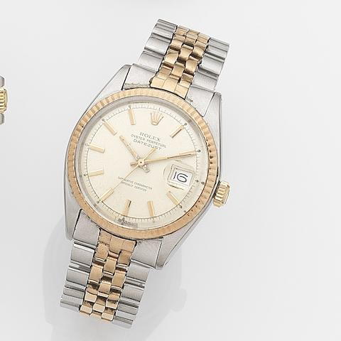 Rolex. A stainless steel and rose gold automatic calendar bracelet watch Datejust, Ref:1601, Serial No.260****, Movement No.D90****, Circa 1970
