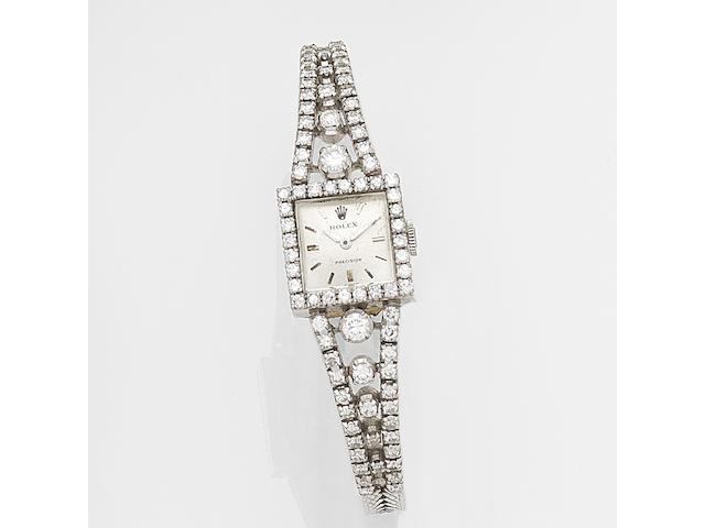 Rolex. A lady's 18ct white gold and diamond set manual wind bracelet watch Precision, Case No.362, Circa 1965