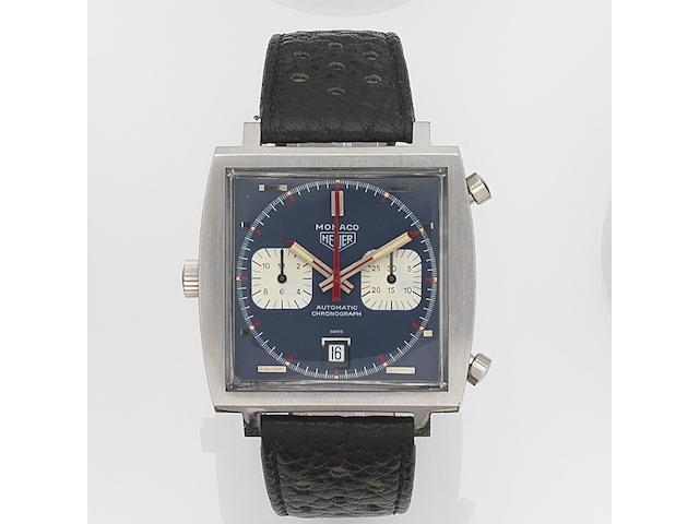 Heuer. A stainless steel automatic calendar chronograph wristwatch Monaco, Circa 1970