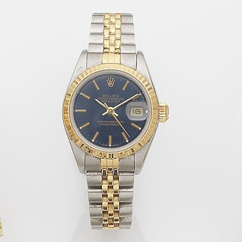 Rolex. A lady's stainless steel and gold automatic calendar bracelet watch Datejust, Ref:69173, Serial No.L21****, Movement No.114***, Sold 11th November 1989