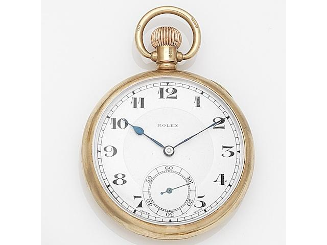 Rolex. A 9ct gold keyless wind open face pocket watch Case No.621115, Birmingham Hallmark for 1937