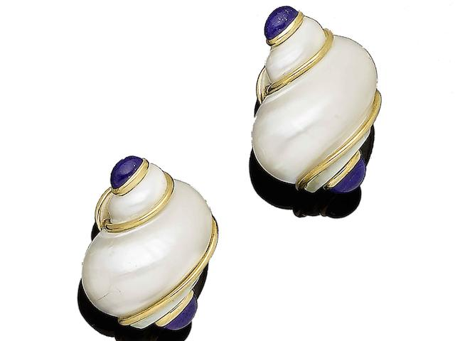 A pair of shell and lapis lazuli earrings, by Seaman Schepps,