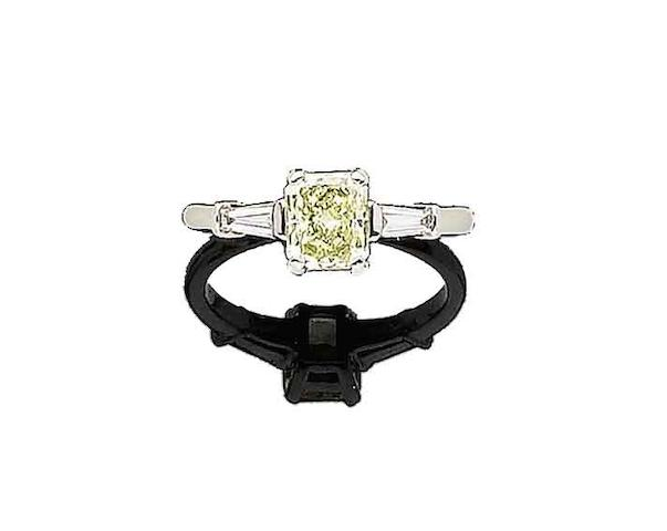 A fancy coloured diamond single-stone ring