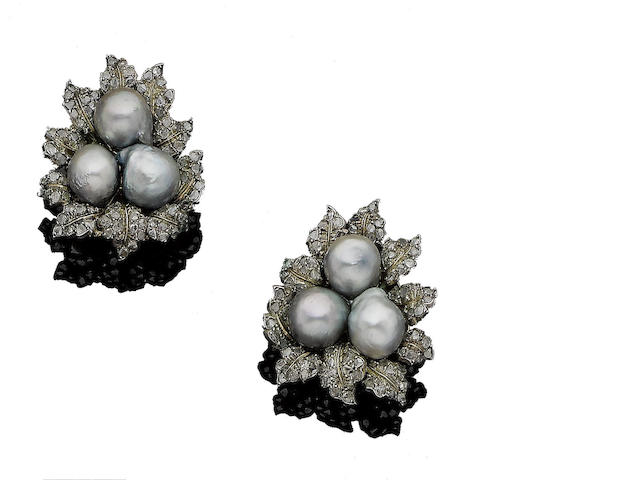 A pair of cultured pearl and diamond leaf earclips, by Buccellati,