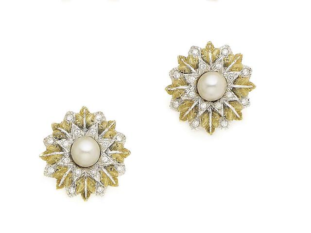 A pair of cultured pearl and diamond-set earrings, by Buccellati