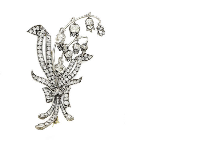 A diamond lily of the valley brooch,