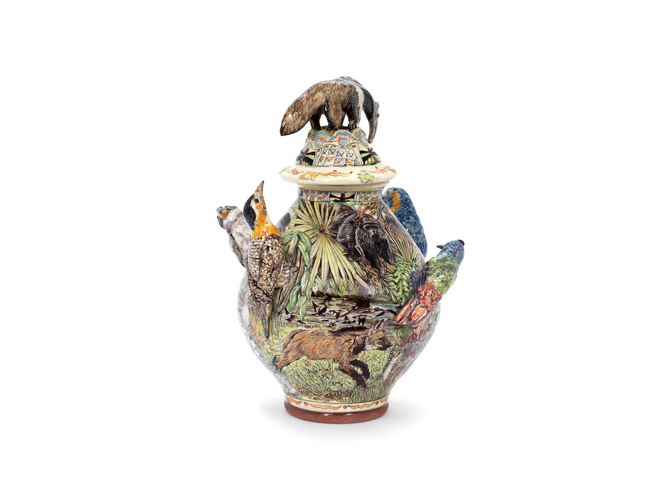 Maureen Minchin A Large Anteater Mounted Figural Jar and Cover, 2014