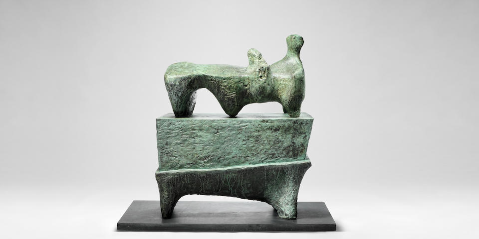 Henry Moore O.M., C.H. (British, 1898-1986) Reclining Figure on Pedestal 130 cm. (51 1/4 in.) high (Conceived in 1959-60)