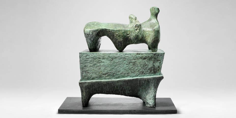 Henry Moore O.M., C.H. (British, 1898-1986) Reclining Figure on a Pedestal 130 cm. (51 1/4 in.) high