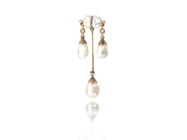 A natural pearl and diamond-set brooch,