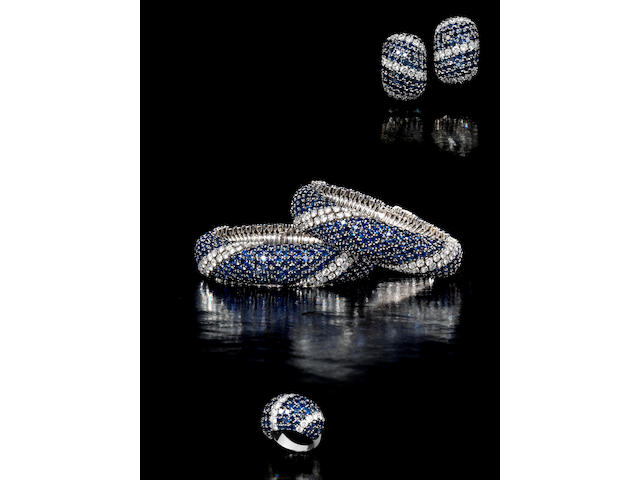 """A sapphire and diamond """"Pelouse"""" suite, by Van Cleef & Arpels,"""