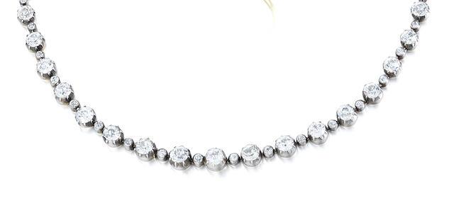 A 19th century diamond rivière necklace