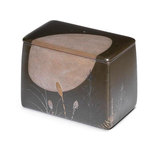 Shibata Zeshin 柴田是真 (1807-1891) ZANSAISAGE (BOX FOR LEFTOVERS) WITH DESIGN OF THE MOON AND MARE'S-TAIL 月に杉菜図蒔絵残菜提 Meiji era (1868-1912), circa 1870-1890 (4)