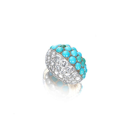 A turquoise and diamond cocktail ring, by Cartier,