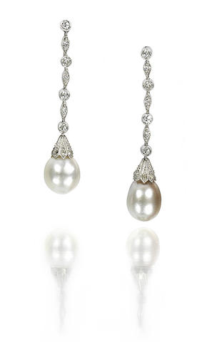 A pair of natural pearl and diamond earpendants,