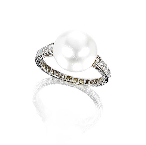 A natural pearl and diamond ring,