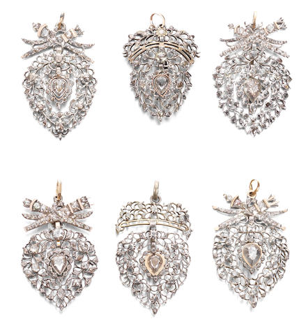 A collection of 18th-19th century diamond heart pendants (18)