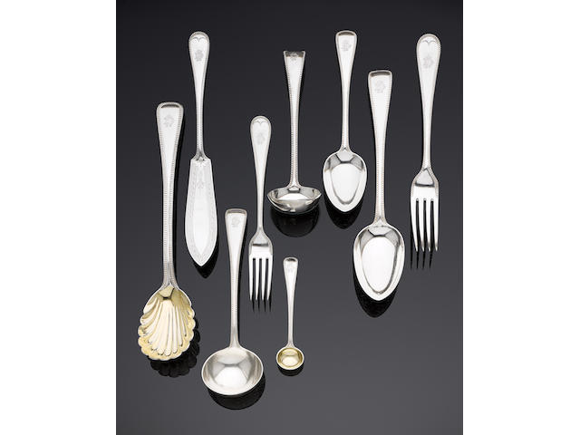 A Victorian silver Old English Bead pattern table service of flatware by George Adams, London 1874 (71)