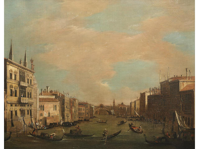 Circle of Antonio Canal, called il Canaletto (Venice 1697-1768) The Grand Canal, Venice, looking North-East from the Palazzo Balbi to the Rialto Bridge