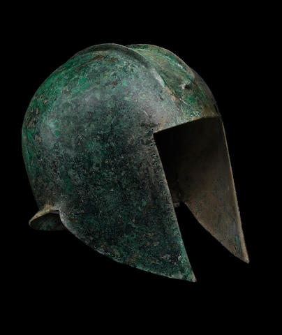 A Greek bronze Illyrian helmet