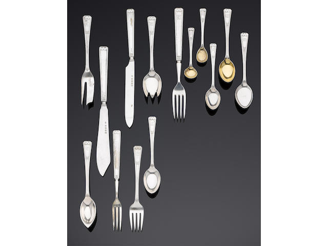 An extensive silver Art Deco table service of flatware and cutlery, contained in a cabinet by Elkington & Co, Birmingham 1934 also with additional Jubilee hallmark