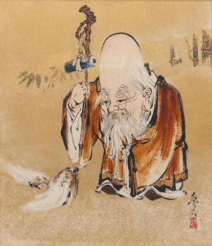 Shibata Zeshin 柴田是真 (1807-1891) URUSHI-E (LACQUER PAINTING) OF FUKUROKUJU, GOD OF GOOD FORTUNE AND LONGEVITY 福禄寿図額装漆絵 Meiji era (1868-1912), circa 1870-1890 (2)