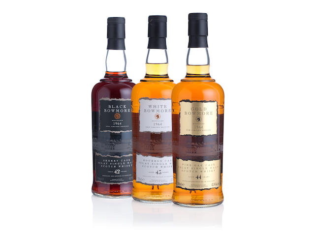 Black Bowmore-42 year old-1964 Gold Bowmore-44 year old-1964 White Bowmore-43 year old-1964