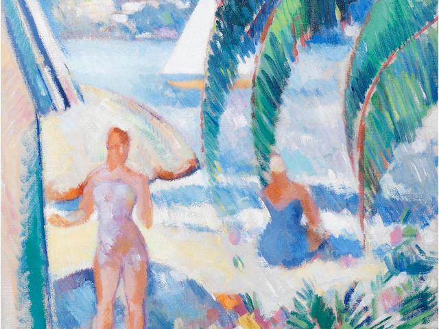 John Duncan Fergusson RBA (British, 1874-1961) On Juan Plage 50.5 x 46 cm. (19 7/8 x 18 1/8 in.)