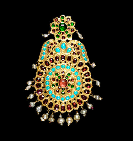 A Qajar gem-set gold Pendant Persia, 19th Century