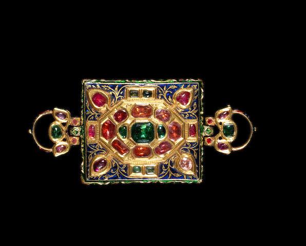 A gem-set enamelled gold Armband (Bazuband) North India, 19th Century