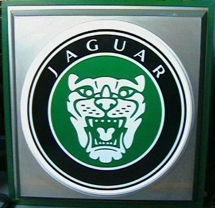 A 'Jaguar' illuminating sign,