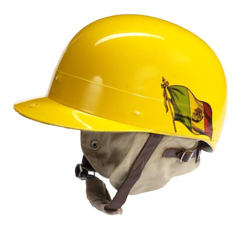 A Herbert Johnson helmet decorated in the colours of Ricardo Rodriguez,