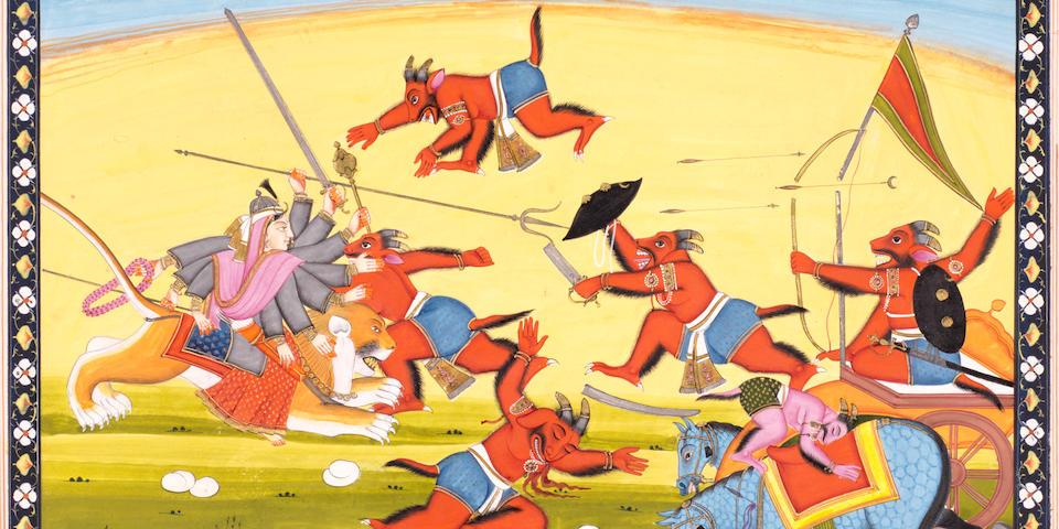 A scene from the Markendaya Purana: Durga riding a tiger in battle with demons Guler, circa 1840