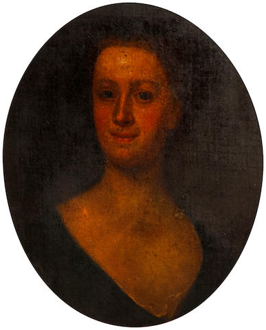 English School, mid 18th Century Portrait of a lady, bust length, wearing a dark-coloured dress