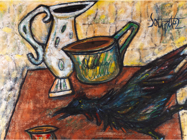 Francis Newton Souza (India, 1924-2002), A Still Life of Kitchen Implements and a Chicken on a Table