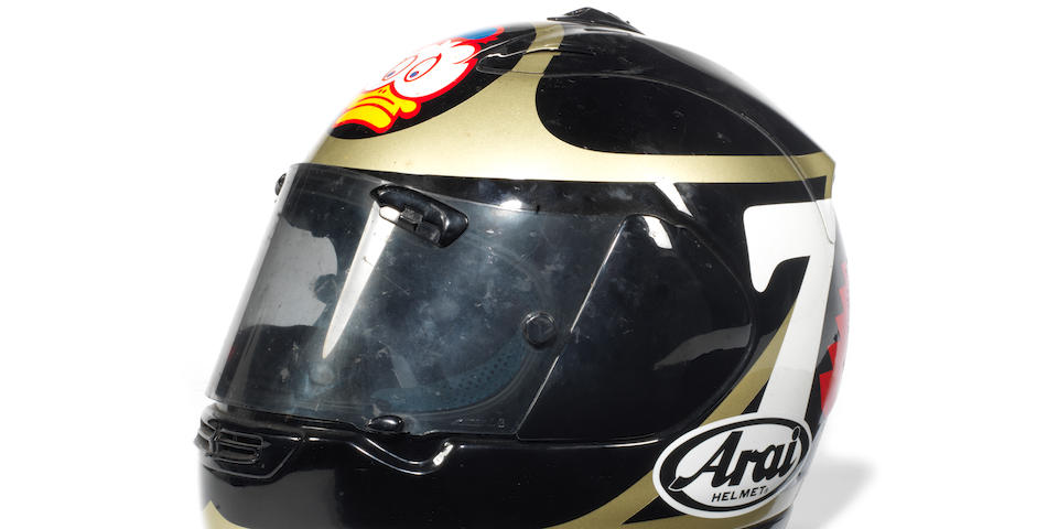 A Barry Sheene race-worn helmet by Arai, late 1990s,