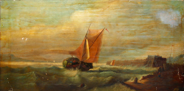 English School, mid-late 19th Century Sailing boat coming into harbour from a stormy sea
