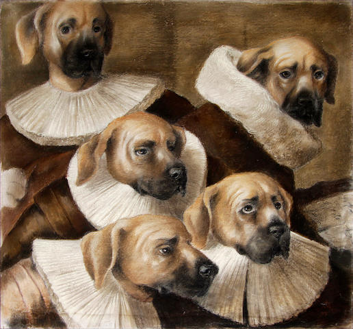 English School, late 19th Century Dogs in 17th Century costume