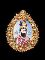 A magnificent, large, diamond-set enamelled gold Portrait of Muhammad Shah Qajar (r. 1834-48) Persia, circa 1835-40