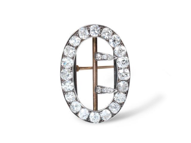 A 19th century diamond buckle brooch