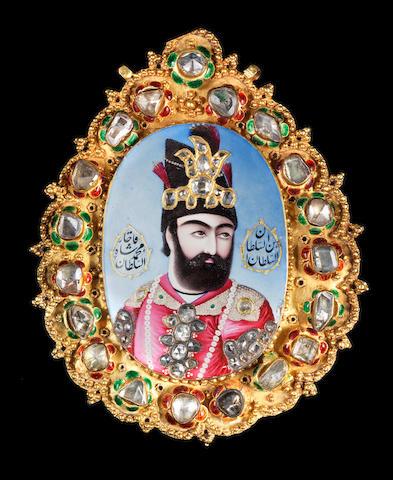 A magnificent, large, diamond-set enamelled gold Portrait of Muhammad Shah Qajar (r. 1834-48) Persia, circa 1835-40