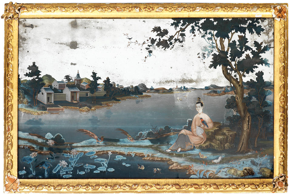 A pair of large reverse paintings on glass 18th century (2)