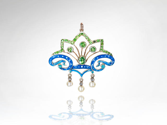 An enamel, pearl and gem-set brooch/pendant, by Child & Child,