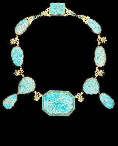 A fine Qajar turquoise and gold Necklace Persia, early 19th Century