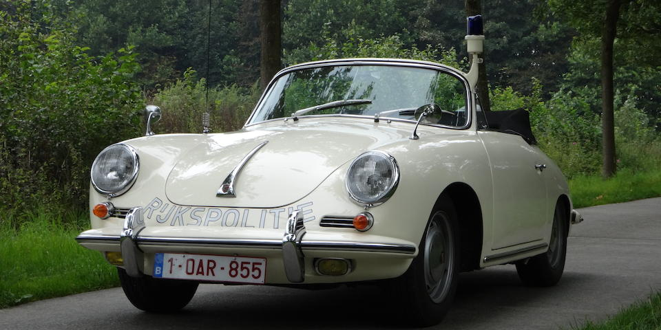 One of 12 delivered new to the section SAS (Surveillancegroep Autosnelwegen) of the Dutch Rijkspolitie in 1962,1962 Porsche 356B 1600 Cabriolet 'Rijkspolitie' Chassis no. 156096 Engine no. 811648