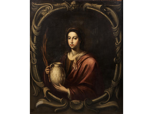 School of Seville, 17th Century Portrait of a lady, half-length, holding a pitcher, within a painted stone cartouche