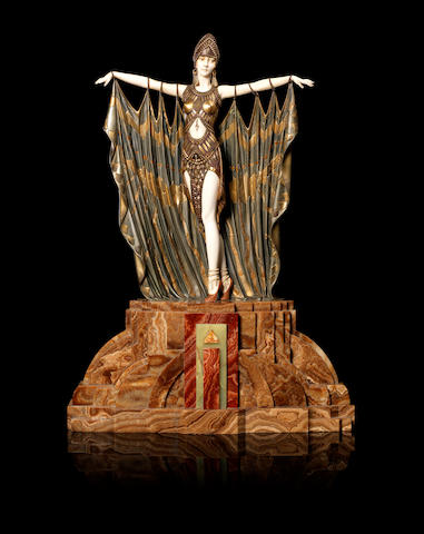 Demetre Chiparus (1886-1947) 'Semiramis' an Impressive Art Deco Cold-Painted Bronze and Carved Ivory Statue, circa 1928