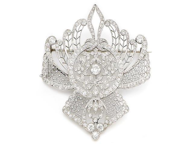 A belle époque diamond brooch,
