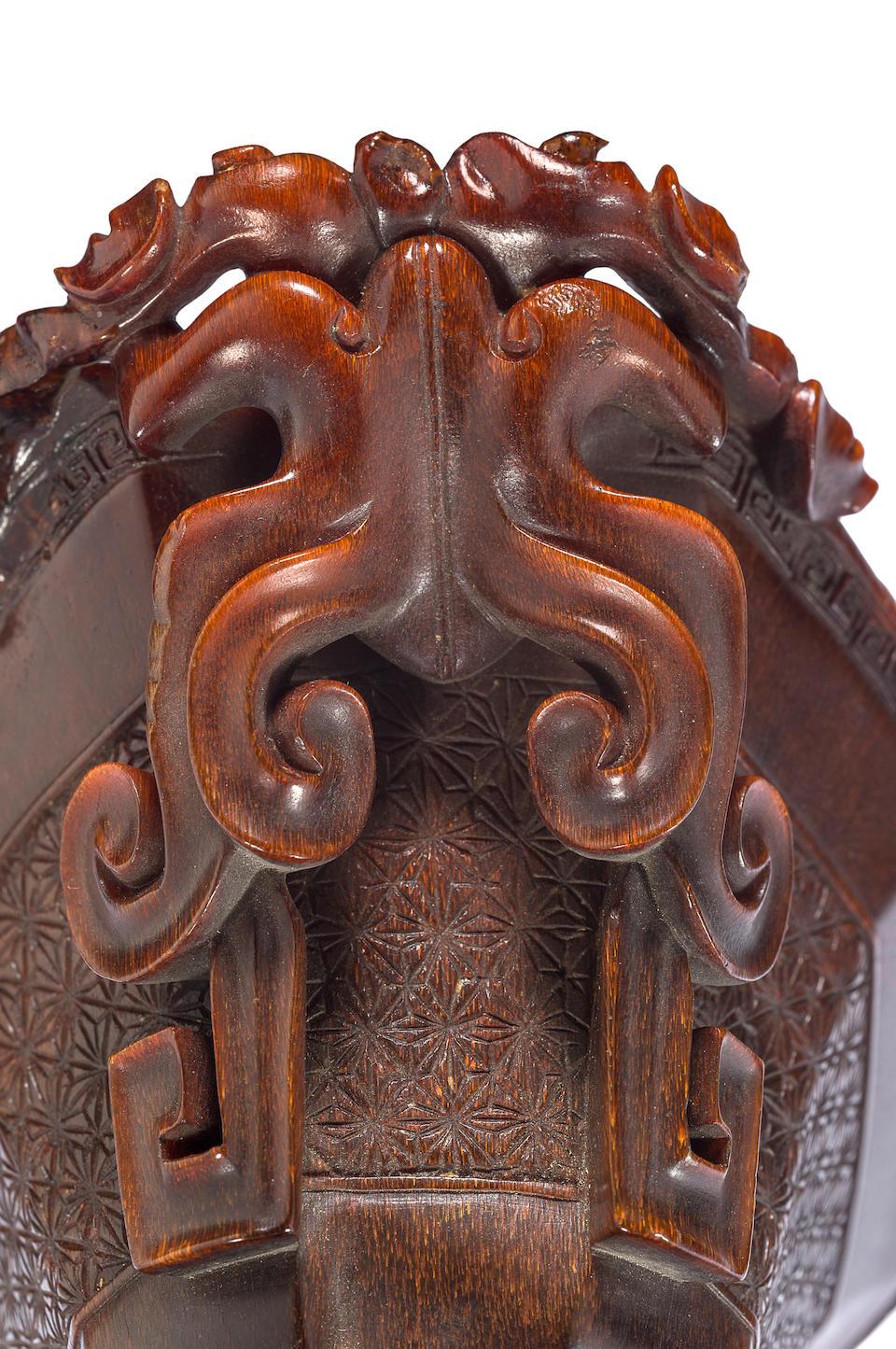An archaistic rhinoceros horn libation cup 18th century