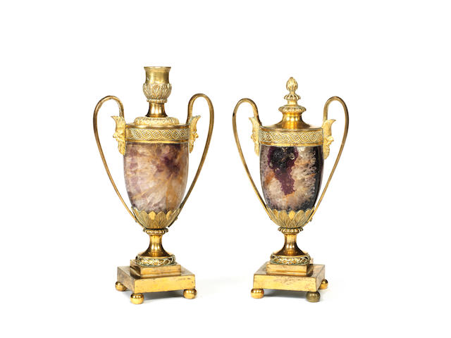 A pair of 19th century gilt bronze mounted Derbyshire fluorspar or Blue John cassolettes